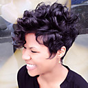 cheap Human Hair Capless Wigs-Fluffy Short Human Hair Capless Wigs Human Hair Natural Curly Pixie Cut / Layered Haircut / With Bangs African American Wig Short Machine Made / Capless Wig Women's