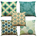 cheap Pillow Covers-5 pcs Linen Natural/Organic Pillow Case Pillow Cover, Solid Floral Plaid Textured Casual Beach Style Euro Bolster Traditional/Classic