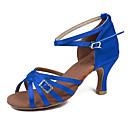 hesapli Latin Dans Ayakkabıları-Kadın's Latin Dans Ayakkabıları Kumaş Sandaletler / Topuklular Toka Küba Topuk Kişiselleştirilmiş Dans Ayakkabıları Fuşya / Kahverengi /