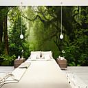 baratos Pinturas a Óleo-Mural Tela de pintura Revestimento de paredes - adesivo necessário Árvores / Folhas 3D