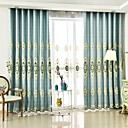 cheap Curtains Drapes-Rod Pocket Grommet Top Tab Top Double Pleat Pencil Pleat Two Panels Curtain European, Embroidery Flower Bedroom Polyester Material