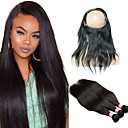cheap Human Hair Wigs-Peruvian Hair Straight / 360 Frontal Human Hair One Pack Solution Human Hair Weaves Human Hair Extensions