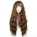cheap Synthetic Capless Wigs-Synthetic Wig Wavy Style With Bangs Monofilament / L Part / Half Capless Wig Brown Brown Synthetic Hair Women's Brown Wig Long Cosplay Wig