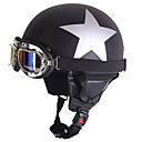 cheap Motorcyle Helmets-Half Face Motorcycle Helmet Silver Star Pattern Flexible ABS Street Motorcycle Helmet Matte Black Color