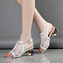 cheap Women's Sandals-Women's Shoes Tulle / Microfiber Summer / Fall Comfort / Novelty / Club Shoes Sandals Skiing Shoes Chunky Heel Peep Toe Buckle / Crystal