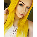 cheap Synthetic Lace Wigs-Synthetic Lace Front Wig Straight Blonde Synthetic Hair Natural Hairline / Middle Part Blonde Wig Women's Medium Length / Long Lace Front Yellow