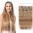 cheap Tape in Hair Extensions-7 pcs set clip in hair extensions beige blonde 14inch 18inch 100 human hair for women