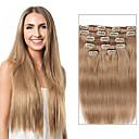 tanie Dopinki clip in-Clip In Ludzkich włosów rozszerzeniach Prosta Doczepy z naturalnych włosów Włosy naturalne Damskie - Beżowy blond
