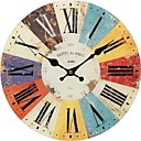 cheap Wall Stickers-Antique / Casual / Country Wood Round Indoor,Battery Wall Clock