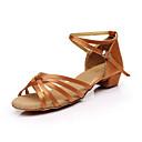 baratos Sapatos de Dança Latina-Mulheres Sapatos de Dança Latina Seda Sandália Cadarço de Borracha Salto Robusto Personalizável Sapatos de Dança Marron / Leopardo / Nú / Interior / Couro