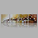 billige Sykkeljerseys-Hang malte oljemaleri Håndmalte - Abstrakt Moderne Inkluder indre ramme / Fire Paneler / Stretched Canvas