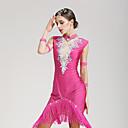 abordables Zapatos de Baile Moderno-Baile Latino Vestidos Mujer Rendimiento Licra Cristales / Rhinestones Sin Mangas Cintura Media Vestido