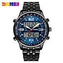 baratos Smartwatches-Homens Relógio Elegante Quartzo 30 m Calendário LED Mostrador Grande Lega Banda Analógico-Digital Cores Múltiplas - Preto Azul