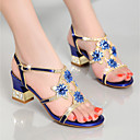cheap Women's Heels-Women's Shoes Nappa Leather / Glitter Summer Club Shoes Sandals Chunky Heel Rhinestone Gold / Purple / Blue / Party & Evening