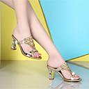 baratos Sandálias Femininas-Mulheres Cashmere Verão Sapatos clube Sandálias Salto Robusto Pedrarias Dourado / Roxo