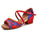 baratos Sapatos de Dança Latina-Sapatos de Dança Latina Cetim / Courino Sandália Presilha Salto Baixo Não Personalizável Sapatos de Dança Fúcsia / Vermelho / Azul
