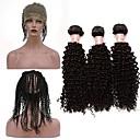 baratos Um pacote de cabelo-Cabelo Peruviano Kinky Curly / Weave Curly Cabelo Virgem Um Pacote de Solução Tramas de cabelo humano Extensões de cabelo humano