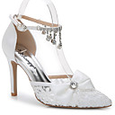 cheap Wedding Shoes-Women's Shoes Silk / Customized Materials Summer / Fall D'Orsay & Two-Piece Sandals Stiletto Heel Pointed Toe Rhinestone / Appliques /
