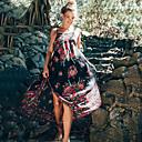 tanie Monitorowanie materiałów eksploatacyjnych-Damskie Puszysta Wyjściowe / Plaża Wzornictwo chińskie Swing Sukienka - Kwiaty, Odkryte plecy Pasek Maxi