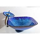 preiswerte Waschschalen und Aufsatz-Waschbecken-Waschbecken für Badezimmer Moderne - Hartglas Quadratisch