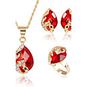 cheap Jewelry Sets-Women's AAA Cubic Zirconia Jewelry Set - Cubic Zirconia Heart Fashion, Euramerican Include Bridal Jewelry Sets Red / Green / Blue For Christmas Gifts Wedding Party / Special Occasion / Anniversary