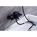 preiswerte Wasserhahn Sets-Badewannenarmaturen - Moderne Öl-riebe Bronze Mittellage Keramisches Ventil / Messing / Einzigen Handgriff Zwei Löcher