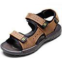 cheap Men's Sandals-Men's Cowhide Spring / Summer Comfort Sandals Water Shoes Black / Light Brown