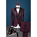 cheap Party Headpieces-Burgundy Solid Slim Fit Cotton Polyester Spandex Suit - Shawl Collar Single Breasted One-button