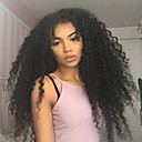 preiswerte Backformen-Echthaar Perücke 360 Frontal / Kinky Curly Perücke Natürlicher Haaransatz / Afro-amerikanische Perücke / 100 % von Hand geknüpft Damen Kurz / Medium / Lang Echthaar Perücken mit Spitze / Kinky-Curly