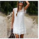 preiswerte Körperschmuck-Damen Baumwolle Etuikleid Kleid - Spitze, Solide Mini Weiß / Sommer