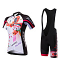 cheap Cycling Jersey & Shorts / Pants Sets-Malciklo Women's Short Sleeve Cycling Jersey with Bib Shorts White Floral Botanical Bike Clothing Suit Breathable Quick Dry Anatomic Design Ultraviolet Resistant Reflective Strips Sports Polyester