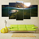 cheap Rolled Canvas Prints-Rolled Canvas Prints Landscape Pastoral, Five Panels Horizontal Print Wall Decor Home Decoration