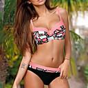 billiga Köksredskap-Dam Axelband Orange Rodnande Rosa Gul Kaxig Bikini Badkläder - Färgblock Tryck L XL XXL