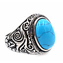 cheap Animal Paintings-Men's Turquoise Ring - Stainless Steel Unique Design, Basic 7 / 8 / 9 Black / Blue LED For Thank You / Daily / Casual