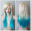 billige Syntetiske parykker uten hette-Syntetiske parykker Dame Rett Blond Lagvis frisyre / Med lugg Syntetisk hår Ombre-hår / Side del Blond Parykk Lang Lokkløs Blond