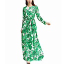 cheap Vehicle Working Light-Women's Floral Party / Going out Boho / Street chic Maxi Swing Dress Ruched / Print Spring Green L XL XXL
