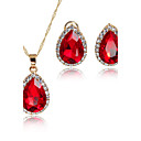 cheap Jewelry Sets-Women's AAA Cubic Zirconia Jewelry Set - Cubic Zirconia, Gold Plated Drop Dangling Style, Fashion, Euramerican Include Charms Bridal Jewelry Sets Red For Christmas Gifts Wedding Party / Anniversary