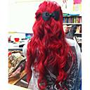 abordables Perruques Synthétiques Sans Bonnet-Perruque Synthétique Ondulé Rouge Rouge Cheveux Synthétiques Femme Ligne de Cheveux Naturelle Rouge Perruque Moyen / Long Lace Frontale