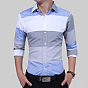 cheap Men's Oxfords-Men's Work Cotton Slim Shirt - Color Block Blue & White, Patchwork Spread Collar / Long Sleeve