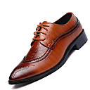 cheap Wedding Shoes-Men's Shoes Leather Spring Summer Comfort Oxfords for Casual Black Brown Burgundy