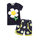 cheap Girls' Clothing Sets-Toddler Girls' Floral Geometric / Fashion Short Sleeve Regular Regular 100% Cotton Clothing Set Royal Blue 2-3 Years(100cm)