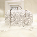 cheap Clutches & Evening Bags-Women's Bags Silk Evening Bag Pearls White / Apricot