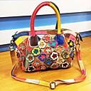 cheap Shoulder Bags-Women's Bags Cowhide Shoulder Bag Flower Rainbow / Black / White