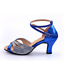 cheap Latin Shoes-Women's Latin Shoes Heel Splicing Customized Heel Customizable Dance Shoes Red / Blue / Indoor / Leather