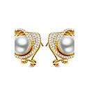 olcso Divat fülbevalók-Női Fülbevaló - Gyöngy, Cirkonium Kecses, Egyedi, Divat Arany / Ezüst Kompatibilitás Esküvő Születésnap Parti / Estélyi