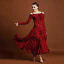 cheap Ballroom Dance Wear-Ballroom Dance Dresses Women's Ice Silk Animal Print Long Sleeve Natural Dress