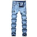 baratos Braceletes-Homens Tamanhos Grandes Algodão Solto Jeans Calças - Sólido rasgado