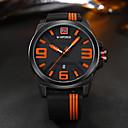 levne Vojenské hodinky-NAVIFORCE Pánské Hodinky na běžné nošení Sportovní hodinky Módní hodinky japonština Křemenný Silikon Černá 30 m Kalendář kreativita Cool Analogové Luxus Na běžné nošení Elegantní - Oranžová Žlut