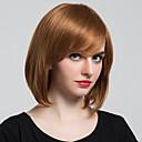 billige Mote Halskjede-Human Hair Capless Parykker Klassisk Naturlige bølger Høy kvalitet Jet Svart Medium Rødbrun Daglig