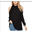 cheap Bakeware-Women's Going out Loose Blouse - Solid Colored Shirt Collar / Silk